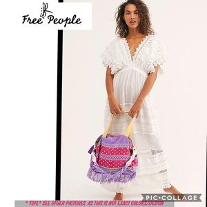 NEW Free People Tricia Fix embroidered tote bag